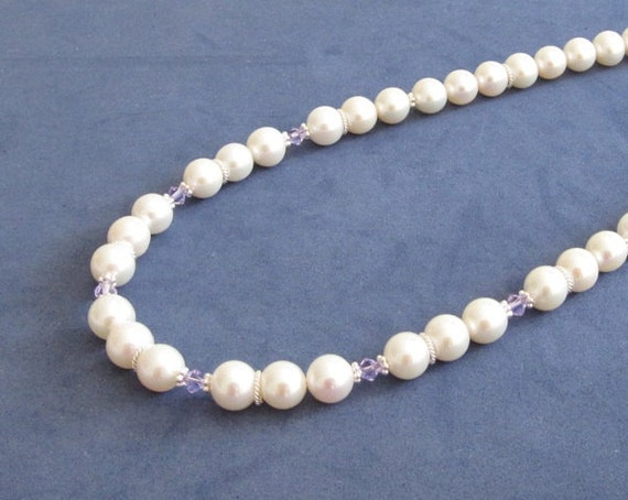 Wedding Bridal White Pearls Necklace Lavender Swarovski Crystals Sterling Silver, Gifts for Brides Maid of Honour, Mother of the Groom gifts