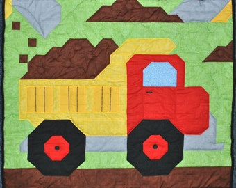 Baby boy quilt pattern: Dump Truck in Wall, Crib, and Lap sizes