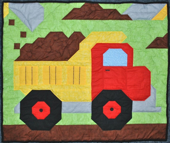 Baby boy quilt pattern: Dump Truck in Wall, Crib, and Lap sizes ... : boy quilt pattern - Adamdwight.com