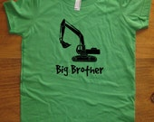 Big Brother Shirt - Kids Big Brother T Shirt - 5 Colors Available - Kids Big Brother Digger T shirt Sizes 2T, 4T, 6, 8, 10, 12 Gift Friendly