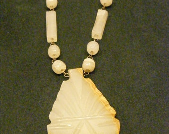 On Sale White Mexican Onyx Hand Carved Primitive Necklace