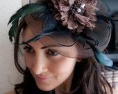 Dark Brown Mesh Fascinator - Brown Flower Peony Couture English Hat Fascinator Headband