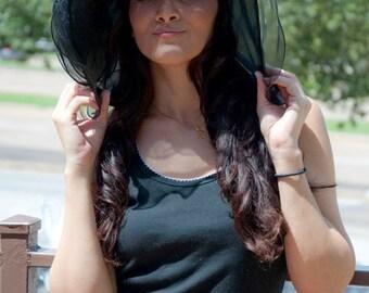 "Black Sun Hat - ""ISABELLA"" Black Crystal Organza Hat w Organza Trim"