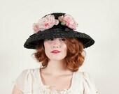 50% OFF SALE / vintage 1960s hat / straw hat / The Audrey