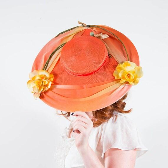 50% OFF SALE / vintage 1940s hat / wide brim straw hat / Tangerine Dream