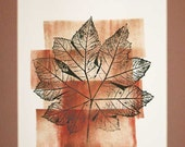 Botanical print, tropical leaf portrait, hand-pulled original direct relief print, fall colors, one of a kind, 11 x 14 inches