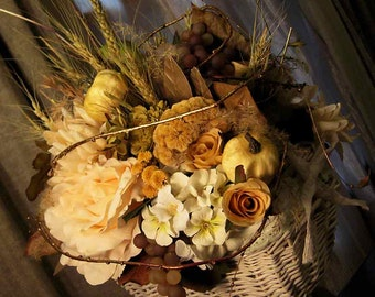 Silk and dried flower centerpiece arrangement, French country home, cottage chic, lush pastel harvest basket bouquet, year round