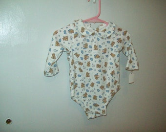 Onesie, Long Sleeve, Sleepy Time Bear, on White, Only one left, Size 13-18 pounds, Ready to Ship, Clearance Sale