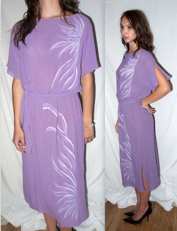 Peacock .. vintage 70s dress midi / 1970s semi sheer disco / flutter split sleeve /  lavender purple glitter / boho wedding party