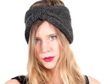 turban style headband, hand knit in slate gray sheep's wool