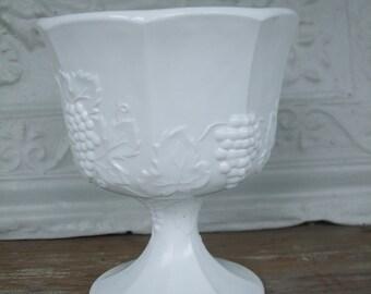 Milk Glass Grape Vine Compote Vase