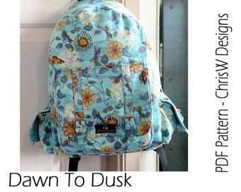 """Backpack PDF sewing pattern Rucksack """"Dawn To Dusk"""", handmade teen or adult backpack with loads of pockets"""