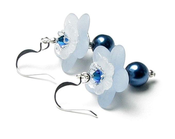 Blue Flower Swarovski Crystal & Pearl Silver Earrings, Delicate Romantic Snow White Wedding Jewelry, Flower Girl Earrings, Something Blue