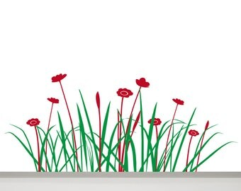 Grass and Flowers Wall Decal - 47 in Grass Decal - Wall Decal Flower, Grass Wall Decor, Grass Wall Art, Flowers Wall Art, a Flowery Meadow