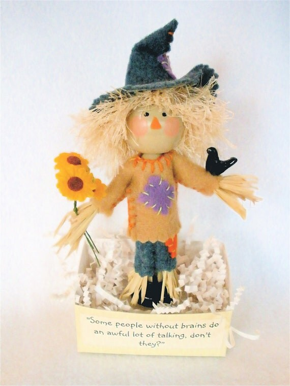 Scarecrow Art Doll, Clothespin Doll, Fall Decor, Halloween Peg Doll,  No Brains Pegtales