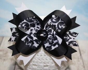 Black and White Damask Bow