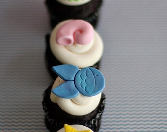 Fondant Ocean Sea Fish, Pearls and Monogram Toppers for Cupcakes, Cookies or Other Treats