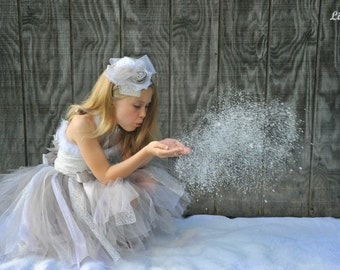 Snowflake Winter Frozen Princess Tulle Tutu Ensemble for Pageants, Professional Photography, Birthday, Flower Girl Ensemble