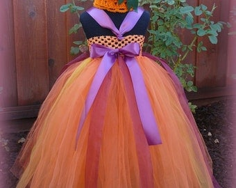 Pumpkin Fall, Autumn, Harvest Tulle Tutu Dress with Crochet Hat for Pageants, Weddings, Flower Girls, Parties, Birthday