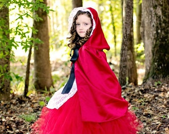 Little Red Riding Hood Fairytale Inspired Costume for Parties, Photographs, Plays, Halloween for Girls