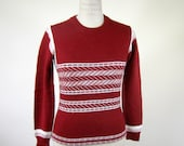 1970s Maroon Sweater Tribal Stripe Womens Small Boho