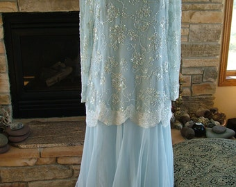 beaded Flapper style baby blue chiffon dress long sleeves