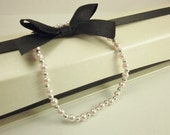SALE - Swarovski Pearl Bracelet w/ Sterling Silver Spacers and Spring Clasp - Rosaline Light Pink