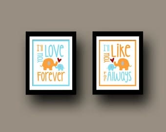 I'll Love You Forever I'll Like You For Always Subway Art Nursery Wall Art Decor Set of Two 8x10 Prints Choose Your Color