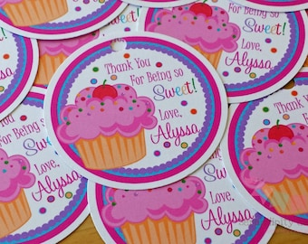 Set of 12 Personalized Favor Tags -Cupcake -Thank You Tag -Gift Tag -Baby Shower -Birthday-Sticker