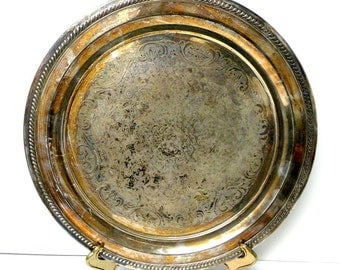 Round Silver Plated Tray- Food Tray- BAR DRINK Tray- Tarnished- One Handle