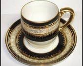 Noritake Demitasse Cup and Saucer Vintage Set Cappuccino Espresso Expresso. Black & Gold. Hand Painted Porcelain.