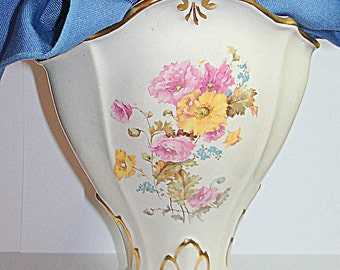 Victorian Vase Vintage Curved Artistic Shape Unique Rim Large Floral Transfers, Gold Trim Art  Nouveau