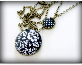 Pendant Necklace in Black and White set in antiqued Brass with matching chain
