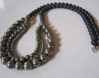 Black and silver iron stone multistrand statement necklace