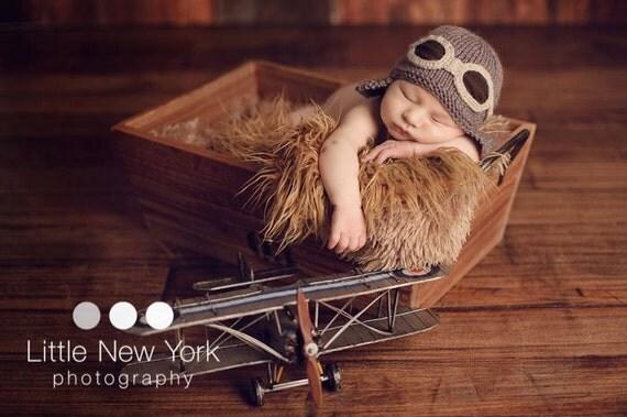 Newborn Photo Prop Baby Newborn Pilot Aviator Hat By