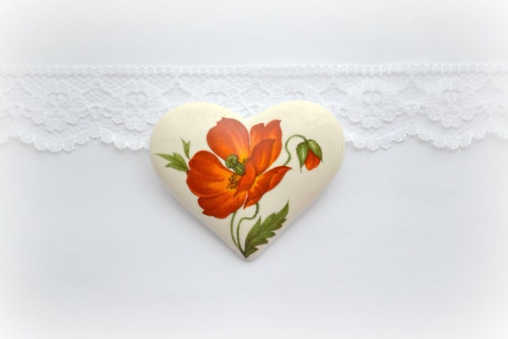 Bright red poppy flower - ceramic brooch, flower pattern - for her - red and white