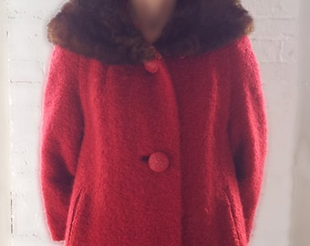1950s Red Wool Coat 50s Vintage Mink Collar Scarlet Christmas Holiday Wool Boucle Large Bakelite Buttons Medium Winter Mid Century Car Coat