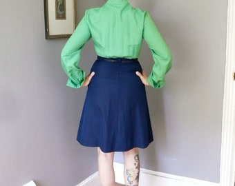 Vintage 1960s Colorblock Dress, Green and Navy Dress, Joan Mad Men Dress