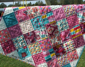 Modern Quilt, Baby Girl Quilt, Pink, Aqua, Baby Blanket, Baby Shower Gift, Made to Order, Busy Hands Quilts