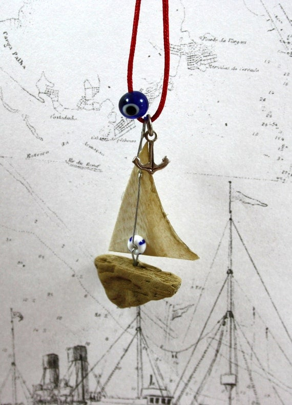 driftwood sailboat necklace ...anchor necklace...nautical jewelry...sailing jewelry...sailing boat...nature jewelry...all things coastal