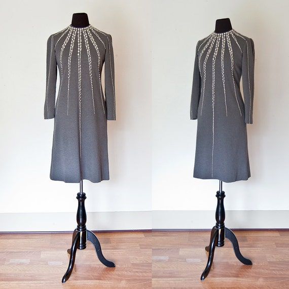 Vintage DONALD BROOKS Dress - 1960s Grey Embelished Wool Starbust Designer Mod - Small