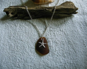 Brown beach glass necklace with starfish. Sea glass jewelry.