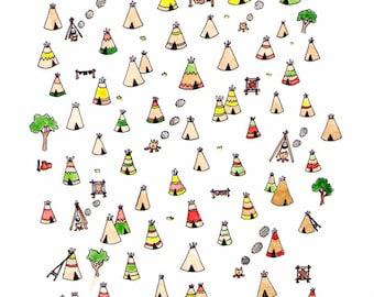 "Tipi Village art print 8.5"" x 11"""