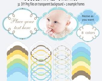 Digital Photo Frame, Baby Frame Clip Art, Doodle frame, doodle clip art, digital label - INSTANT DOWNLOAD Pack 370