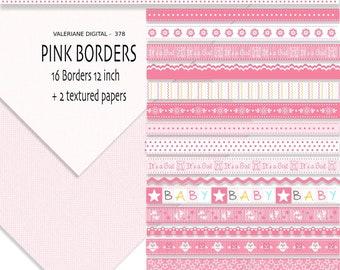 16 Baby digital border or ribbon clip art in pink, baby girl clip art border, border clip art, clipart - 378