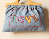 Chambray Wood Handle Hippie Purse, boho 60s calico clutch, hand embroidered hearts applique Love & Boop soft envelope handbag