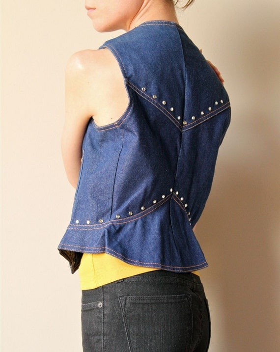 70s Rhinestone Denim Vest, fitted country western pin up bombshell tailored rockabilly top, blue jean rodeo diva vibe