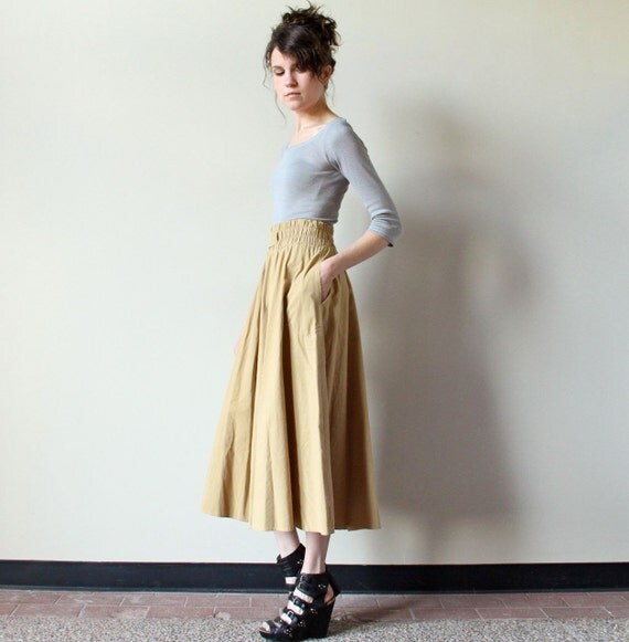 Minimalist Khaki Skirt, 80s cinched wide waistband midi length full circle frock skirt, preppy equestrian safari Fall office style