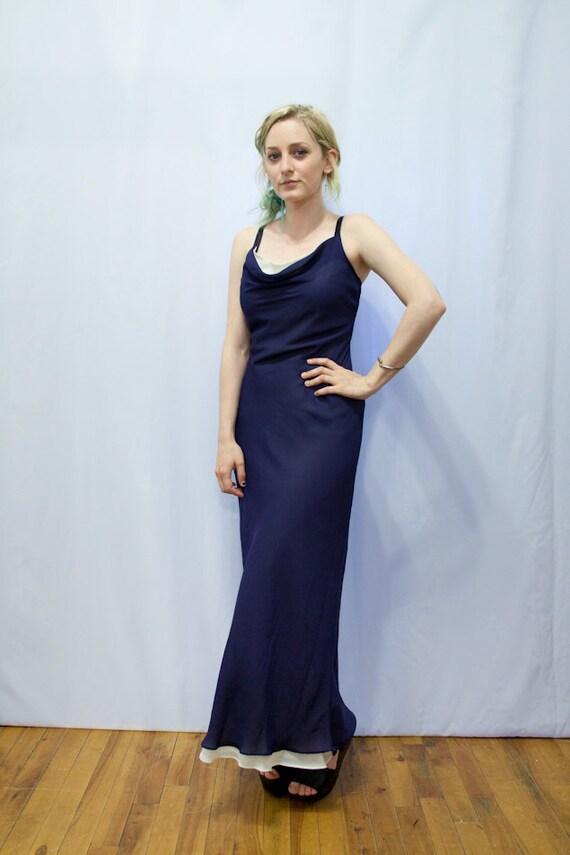 RESERVED for Ros -- VTG 90s Navy Chiffon Slimfit Dress S