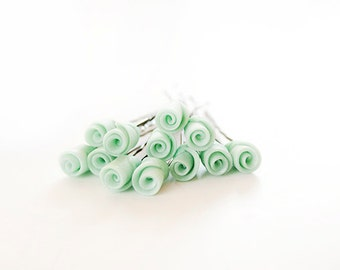Wedding bridal hair pins - 12pcs - wedding accessories - made to order - Bridal Mint pearl Roses hair piece - rosebuds jewelry Israel